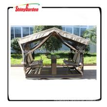 Outdoor designer swing garden gazebo inside rocking chair and table
