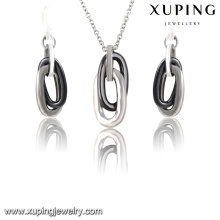 63920 Fashion Cool Stainless Steel Jewelry Ceramic Set in Silver -Plated