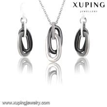 63920 moda legal aço inoxidável cerâmica jóias set em prata -plated