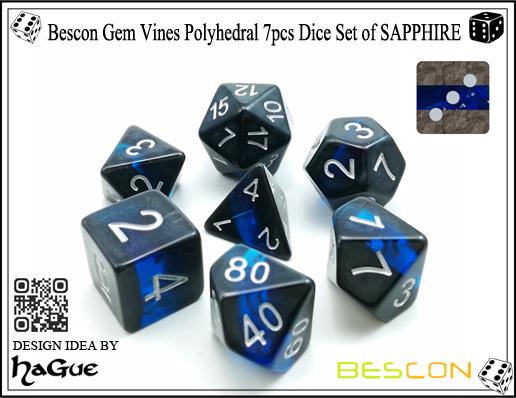 Bescon Gem Vines Polyhedral 7pcs Dice Set of SAPPHIRE-2