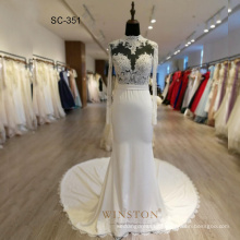 Luxury Full Pearls 2018 Muslim Wedding DressBridalGown
