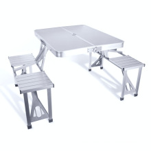 VIVINATURE Folding Table with 4 Folding Stools Height Adjustable Aluminum Camping with Parasol Hole