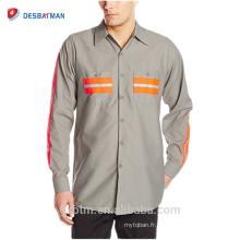Hi Vis Polyester Coton Manches Longues Chemise de Travail Haute Visibilité Sécurité Réfléchissant Uniforme Chemise En Gros