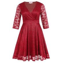 Hanna Nikole Plus Size Three Quarter Length Sleeve V-Neck Red Lace Women Dress HN0022-2