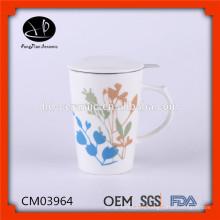 Tasse de thé en céramique chinoise avec couvercle, tasse de thé en céramique avec couvercle, tasse en céramique avec filtre en acier inoxydable