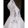 Hochwertige koreanische Art Spitzehülsen Hochzeitskleidstickerei wulstiges Hochzeitskleid 2016