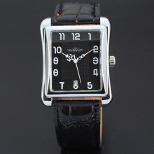 winner rectangle mininalist style men watch with genuine leather band
