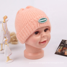 New Super Soft Material NewBorns Baby Winter Warm Hat Solid Color Cute Beanie Knitted Boys Girls Kids Cap Hats