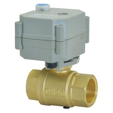 Válvula de esfera de bronze motorizada do OEM DC3V / 12V / 24V com operação manual (T20-B2-B)