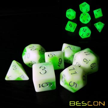 Bescon Glowing Polyhedral RPG Dice Set Luminous Jade, Bescon Glow in Dark Poly Dice Set of 7, DND Role Playing Game Dice