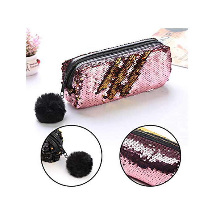 Sequin Pink And Gold Pencil Case 2