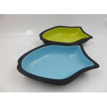 Plato de gato de cerámica en forma de peces