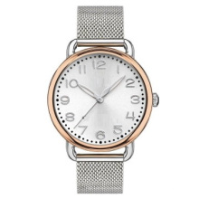 Тонкой нержавеющей стали 316L наручные часы IP розовое золото, позолоченный Безель чистая полоса нержавеющей стали 316L