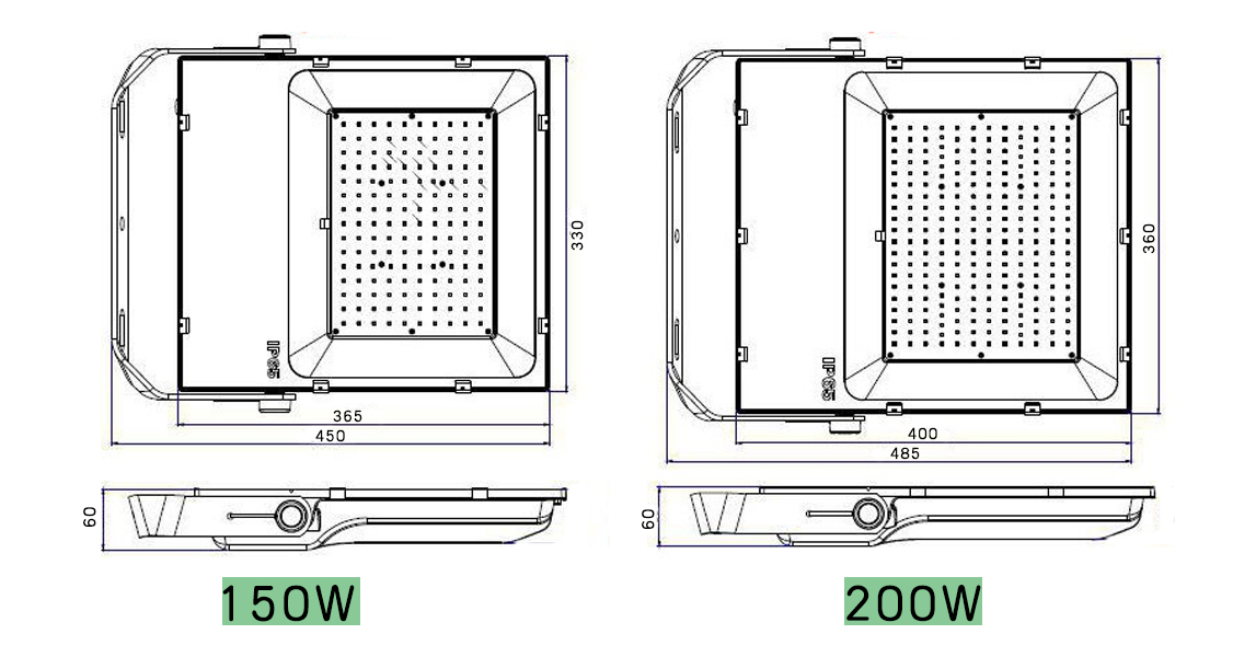 Size drawing of waterproof Flood Light