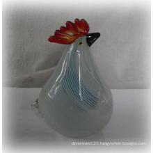 White Stand Glass Rooster W/Blue Stripe -10ga03145