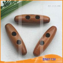 Bouton Toggle en bois naturel naturel pour vêtements BN8113