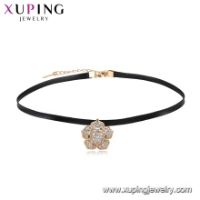44472 xuping fashion 18k gold plated latest design top sale beautiful flower leather choker necklace for girls