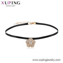 Мода последние дизайн лучшие продажи красивый цветок кожаный колье ожерелье для девочек в покрытие 18к