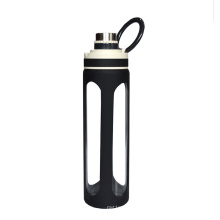 Borosilicate 1000ml glass water bottle stainless steel tea infuser water bottle with silicone sleeve