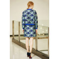 Vintage Flower Print Jacket with Zip Front and Rib Contrast Trim Around