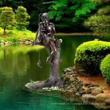 открытый сад украшения металл ремесло brozne мальчик рыбалка фонтан