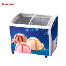 Congelador de helado congelador de vidrio superior congeladores de vidrio deslizante de la puerta