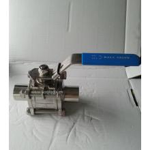 Vanne à bille fileté en acier inoxydable 3PC avec poignée