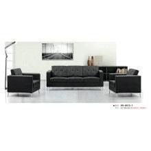 Черный современный офисный диван с рамкой из нержавеющей стали (8513-2)