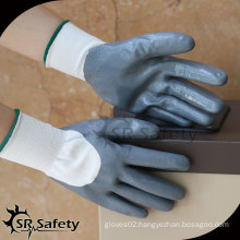 SRSAFETY 13G knitted nylon 3/4 coated,nitrile gloves wholesale CHINA suppliers