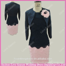 RP0046 Long sleeve black top and pink skirt with jacket knee length short real sample prom dress two pieces prom dresses