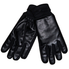 Men′s Fashion Acrylic Knitted Cuff PU Leather Warm Gloves (YKY5002)