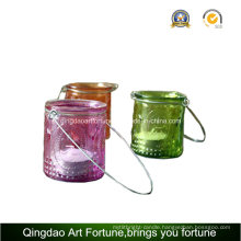 Tealight Candle Lantern with Metal Handling for Home Decor