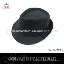 Schwarze Fedora Hut mit Band Polyester Mode für Männer trilby Fedora Hut Großhandel