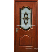 Mahogany Veneered Painted Carved Fancy Wood Door Design with Art Glass