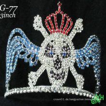 Neue Designs Halloween Rhinestone Zubehör benutzerdefinierte hohe Festzug Krone Tiara