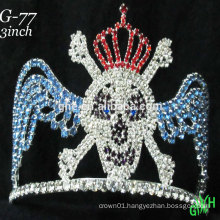 New designs Halloween rhinestone accessories custom tall pageant crown tiara