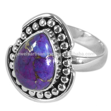 2017 Latest Design Purple Copper Turquoise Gemstone 925 Solid Silver Ring Jewelry