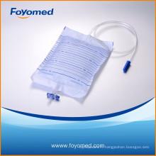 Hot-sale CE, ISO Proved 2000ml Sac d'urine avec non retour, valve T
