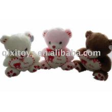 peluche en peluche valentine belle ours avec coeur, jouet cadeau animal doux