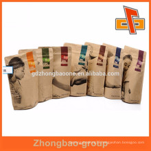 Stand up foil lined brown kraft paper bags with zipper for protein powder or supplements