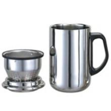 Taza de doble pared de acero inoxidable con la manija, colador de té, 350ml