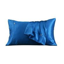 Funda de almohada de seda de 19 mm estilo sobre color sólido