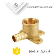 EM-F-A259 Tipo de rosca hembra fija de pared y macho Instalación de tubería de codo de latón dental circular