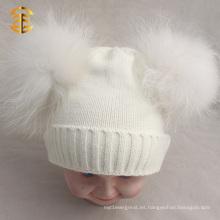 Detonación Modelo Khaki Doble Pom Cuff Funny Cute Beanie sombreros para el cabrito