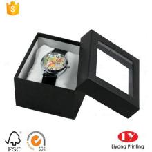 Caja de papel de joyería reloj negro con ventana