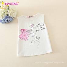 wholesale 100% cotton sleeveless white kids t shirt