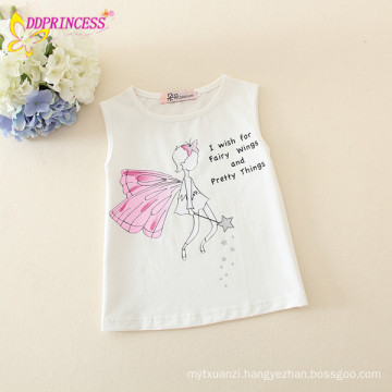 wholesale 100% cotton sleeveless white kids t shirt