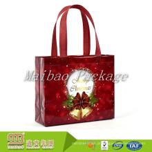 Tote decorativo feito-à-medida colorido da tela da compra do presente de Eco da impressão saco decorativo do Natal não tecido