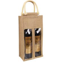 custom logo wine bottle clear gift bags jute two bottle wine tote bag for wine bottles