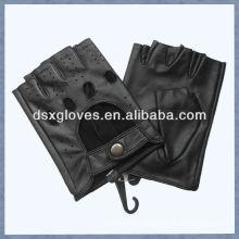 black sheepskin leather fingerless gloves